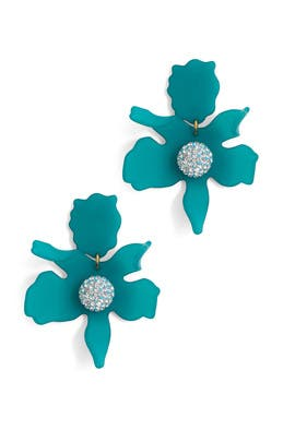 Lagoon Blue Crystal Lily Earrings by Lele Sadoughi