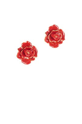 Rosette Gold Earrings by Oscar de la Renta