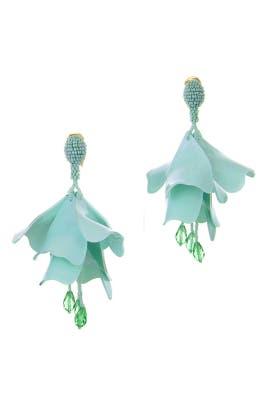 Celadon Impatiens Flower Drop Earrings by Oscar de la Renta