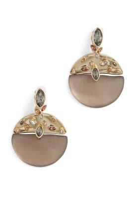 Crumpled Metal Navette Clip Earrings by Alexis Bittar
