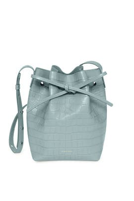 Blue Croc Mini Bucket Bag by Mansur Gavriel Accessories