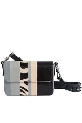 Striped Captain Leather Flap Crossbody by AllSaints