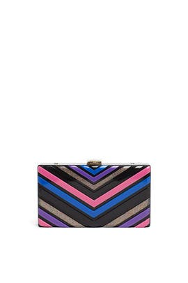 Multi Bright Chevron Box Minaudiere by Sondra Roberts