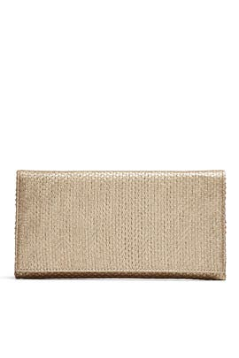 Gold Woven Flap Clutch by Sondra Roberts