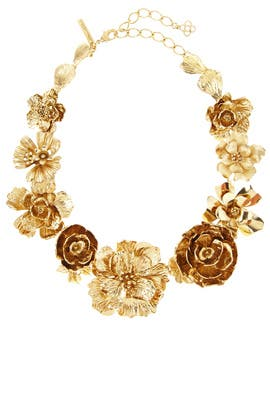 Gold Bold Flower Necklace by Oscar de la Renta
