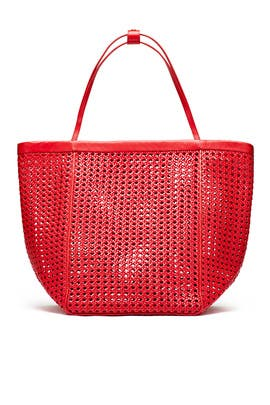 Red Woven Teller Tote by Elizabeth and James Accessories