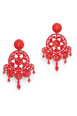 Red Dreamcatcher Earrings by Oscar de la Renta