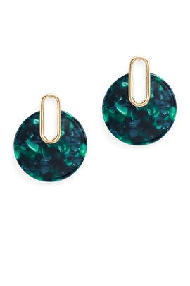 Green Resin Circle Earrings by Slate & Willow Accessories