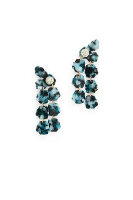 Blue Petal Drop Earrings by Lele Sadoughi