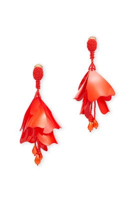 Red Impatiens Flower Drop Earrings by Oscar de la Renta