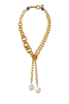 Gold Edith Lariat Necklace by Lizzie Fortunato