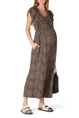 Printed Maternity Jumpsuit by Ingrid & Isabel