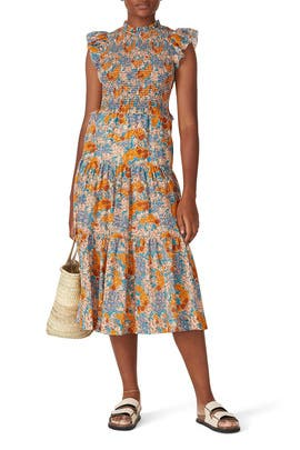 Biarritz Smocked Midi Dress by Sea New York