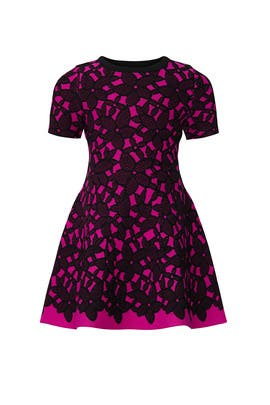 Kids Magenta Jaquard Dress by Milly Minis
