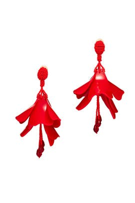Cayenne Impatiens Flower Drop Earrings by Oscar de la Renta
