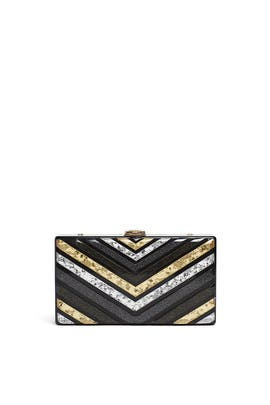 Metallic Multi Chevron Box Minaudiere by Sondra Roberts