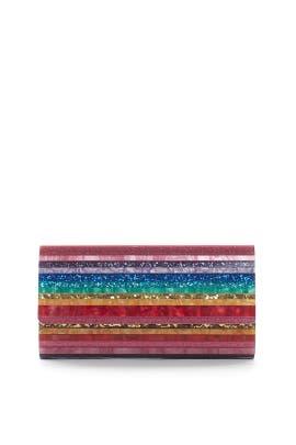 Rainbow Resin Flap Clutch by Sondra Roberts