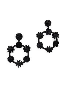 Flower Double Hoop Earrings by Oscar de la Renta