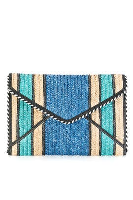 Blue Straw Leo Clutch by Rebecca Minkoff Accessories