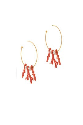 Painted Paprika Branch Earrings by Oscar de la Renta