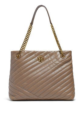 Classic Taupe Kira Chevron Tote by Tory Burch Accessories