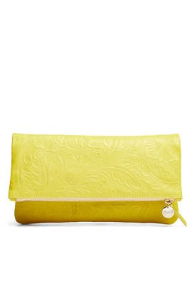 Yellow Foldover Clutch by Clare V.