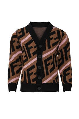 Kids Logo Print Cardigan by Fendi Kids