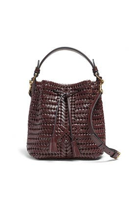 Claret Mini Neeson Drawstring Bag by Anya Hindmarch