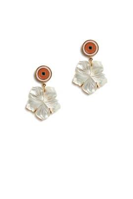Monte Carlo White Flower Earrings by Lizzie Fortunato
