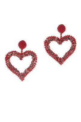 Jeweled Heart Earrings by Oscar de la Renta
