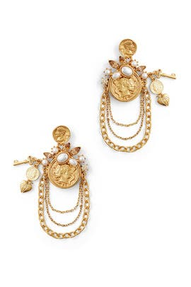Gold Coin Charm Chain Earrings by Oscar de la Renta