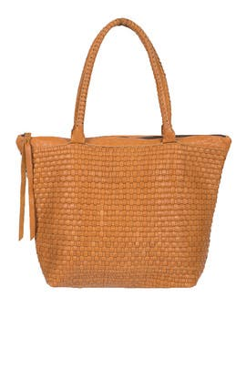 Tan Woven Livia Tote by Cleobella Handbags