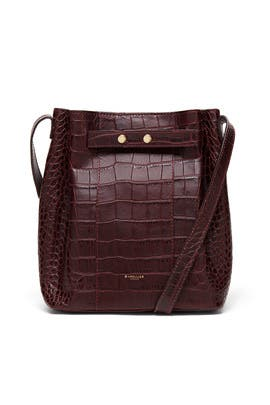 Burgundy Mock Croc Naples Bucket Bag by DeMellier London