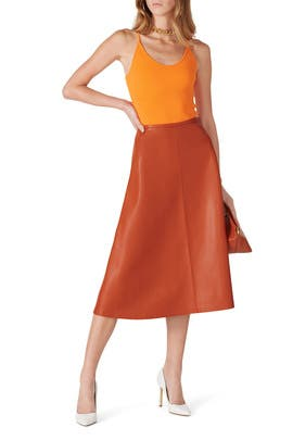 Orange Faux Leather Midi Skirt by LAPOINTE