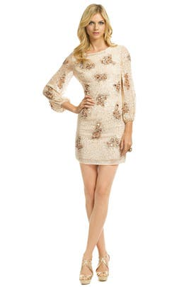 e7be559b3f5 Badgley Mischka. Read Reviews. Sequin Bell Sleeve Sheath