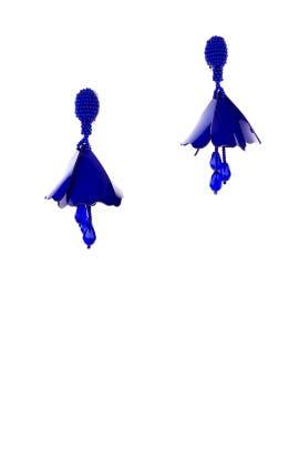 Blue Mini Impatiens Flower Drop Earrings by Oscar de la Renta