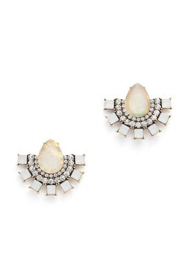 Iridescent Half Moon Earrings by Slate & Willow Accessories