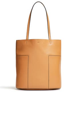 Tan Tall Block-T Tote by Tory Burch Accessories
