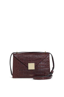 Burgundy Mock Croc Copenhagen Shoulder Bag by DeMellier London