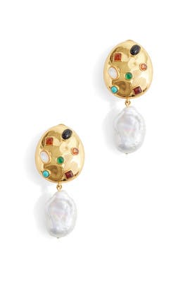 Pearl Gold La Bomba Earrings by Lizzie Fortunato