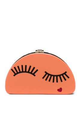 Eyelash Half Moon Clutch by Milly Handbags