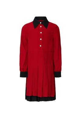 Kids Red Pleated Shirt Dress by No. 21 Kids