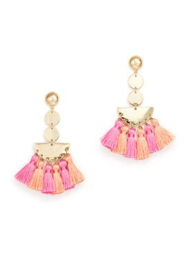 Pink Multi Fringe Earrings by Ettika