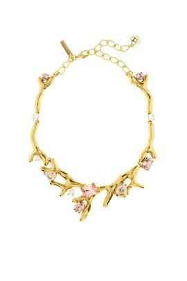 Vintage Rose Crystal Necklace by Oscar de la Renta