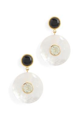 Pearl Taj Disc Earrings by Lizzie Fortunato
