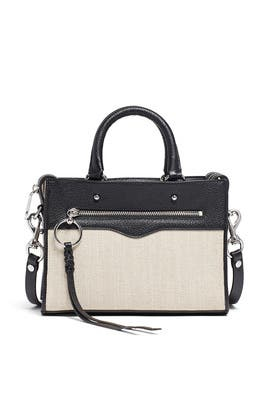 Linen Bedford Zip Satchel by Rebecca Minkoff Accessories