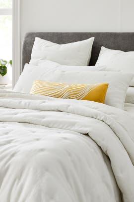 Full/Queen Belgian Flax Linen Cotton Metallic Bedding Bundle by West Elm