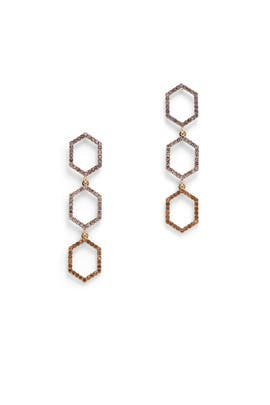 Hexagon Triple Drop Earrings by Slate & Willow Accessories