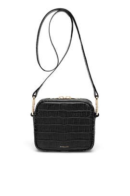 Black Mock Croc Athens Camera Bag by DeMellier London