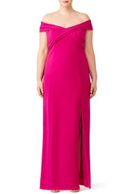 Fuchsia Off Shoulder Gown by Theia